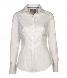 Женская приталенная однотонная белая рубашка, ткань
