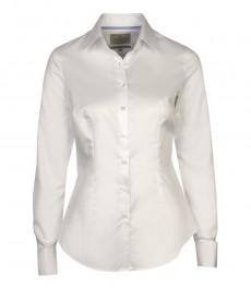 Женская приталенная белая бизнес рубашка с двойной манжетой - 2-х слойный хлопок толщиной 100s