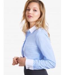 Женская приталенная рубашка, Executive collection , бело-голубая бенгальская полоска, под запонку - 2-х слойный хлопок 100s