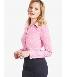 Женская приталенная розовая рубашка, коллекция Executive, белая бенгальская полоска - рукава под запонку