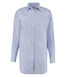 Женская голубая бойфренд-рубашка, ткань добби - длинный рукав