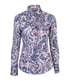 Женская модная приталенная рубашка голубого с фуксией цвета с принтом  ethnic paisley и с жабо