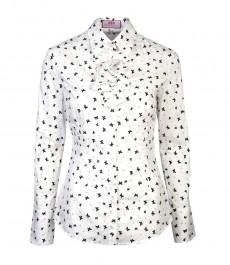 Женская модная приталенная рубашка чёрно-белого цвета с принтом бабочек, с жабо