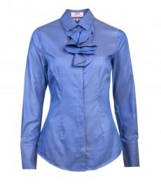Женская модная приталенная рубашка в мелкий горох цвета индиго с белым с жабо