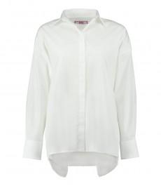 Женская белая бойфренд-рубашка с открытой спиной - длинный рукав