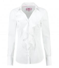 Женская приталенная рубашка, белая с жабо - манжеты на пуговицах
