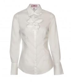 Женская белая приталенная рубашка с оборкой в области шеи