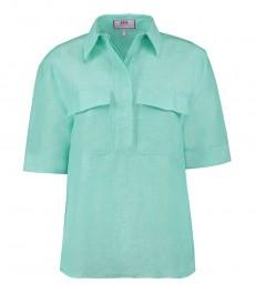 Женская зелёная льняная рубашка, свободный крой - короткий рукав