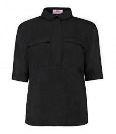 Женская чёрная льняная рубашка, свободный крой - короткий рукав