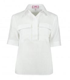 Женская белая льняная рубашка, свободный крой - короткий рукав