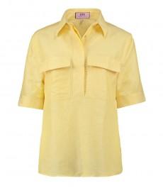 Женская жёлтая льняная рубашка, свободный крой - короткий рукав