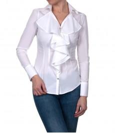 Белая приталенная женская блузка с воротничком