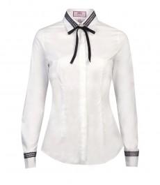Женская однотонная приталенная рубашка белого цвета с чёрными кружевами, двойная манжета
