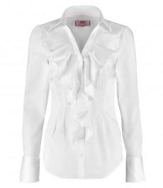 Женская приталенная рубашка, белая, жабо