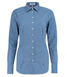 Женская приталенная голубая рубашка, ткань добби - одинарная манжета