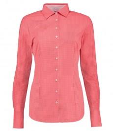 Женская коралловая в белую точку рубашка, приталенная -манжеты на пуговицах