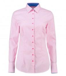 Женская приталенная рубашка, белая в розовую крапинку - манжеты на пуговицах