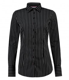 Women's Black & White Dobby Weave Fitted Stretch Shirt - Single Cuff