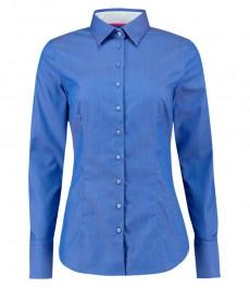 Женская приталенная рубашка, голубая в крапинку Dobby, волнообразный узор - манжеты на пуговицах