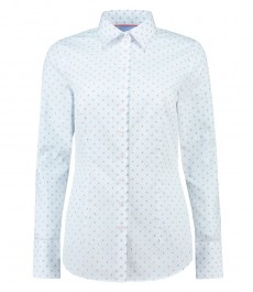 Women's White & Blue Dobby Weave Fitted Stretch Shirt - Single Cuff