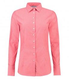 Женская приталенная рубашка, коралловая, крапинка Dobby - Манжеты на пуговицах