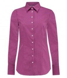 Женская приталенная рубашка, красная в белый мелкий принт - манжеты на пуговицах