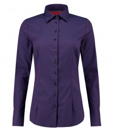 Women's Navy & Red Dobby Weave Fitted Stretch Shirt - Single Cuff