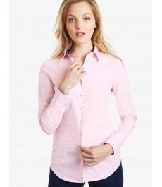 Женская приталенная рубашка, белая в розовый узор - Манжеты на пуговицах