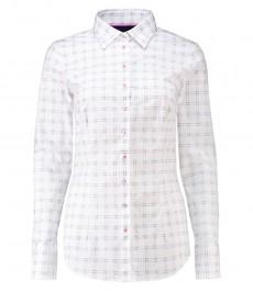 Женская приталенная рубашка, белая в голубую крупную клетку - манжеты на пуговицах