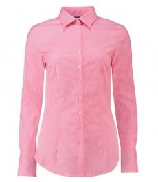 Женская приталенная рубашка, розовая в белую мелкую клетку - манжеты на пуговицах