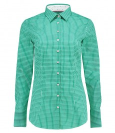 Женская приталенная рубашка, зеленая в белую клетку - манжеты на пуговицах