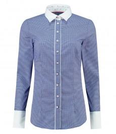 Женская приталенная рубашка, голубая в мелкую ломаную клетку - манжеты на пуговицах