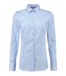 Женская приталенная рубашка, голубая в белую клетку - манжеты на пуговицах