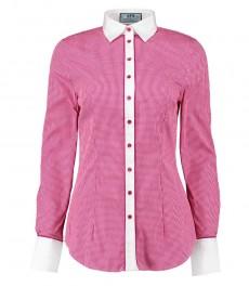 Женская модная приталенная рубашка фуксия с белым клетка с констрастными деталями - одинарная манжета
