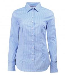Женская приталенная рубашка, голубая в белую мелкую клетку - манжеты на пуговицах