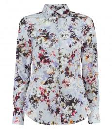 Женская рубашка, приталенная, светло-голубой и белый цветочный принт - манжеты на пуговицах