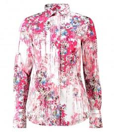 Женская приталенная рубашка, светло-розовая в цветочный принт - манжеты на пуговицах