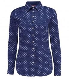 Женская приталенная рубашка, темно-синяя в белую точку - манжеты на пуговицах
