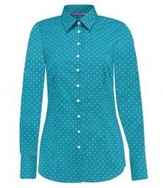 Женская приталенная рубашка, бирюзовая в белую точку - манжеты на пуговицах