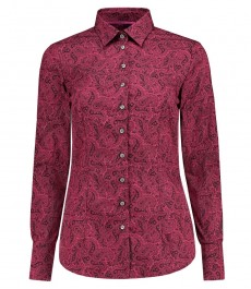Женская приталенная рубашка, бургундия, пейсли - манжеты на пуговицах