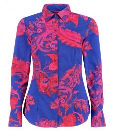 Женская приталенная рубашка, темно-синяя, красный пейсли - манжеты на пуговицах