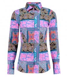 Женская приталенная рубашка, фиолетовая в розовый пейсли - манжеты на пуговицах