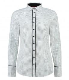 Женская приталенная рубашка, белая в чернеую точку - манжеты на пуговицах