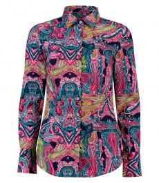 Женская приталенная рубашка, голубая в розовый узор пейсли - Манжеты на пуговицах