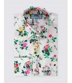 Женская цветочная приталенная английская рубашка, рукав под пуговицу