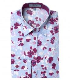 Женская приталенная рубашка светло-голубого с фуксией цвета с цветочным принтом Jeni Bloom, одинарная манжета