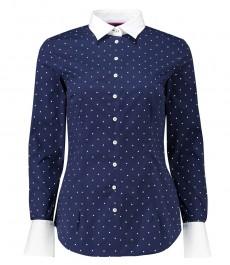 Женская приталенная рубашка, темно-синяя в белую крапинку - манжеты на пуговицах
