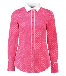Женская приталенная рубашка, розовая в белый горох - манжеты на пуговицах