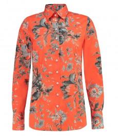 Женская приталенная рубашка, оранжевая цветочный принт - манжеты на пуговицах