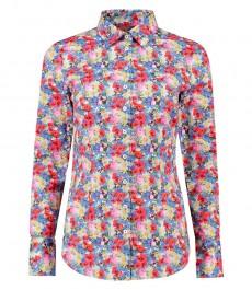 Женская приталенная рубашка из хлопка, голубая, красный цветочный принт - манжеты на пуговицах